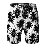 Amextrian Mens Quick Dry Swim Trunks with Mesh Lining,Seamless Black Coconut Trees Pattern,Summer Surf Long Beach Pants Board Shorts Bathing Suits XL