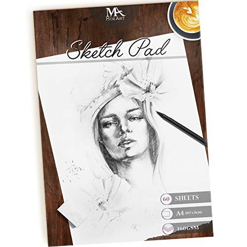 Blocco schizzi - 60 fogli, 8,5 x 11 pollici, 160 gsm - Carta da disegno liscia, spessa di qualità premium per i tuoi materiali artistici - Perfetta per schizzi, Stencil - MozArt Supplies