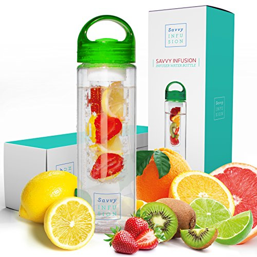 Savvy Infusion Water Bottles - 24 or 32 Ounce Fruit Infuser Bottle - Featuring Unique Leak Proof Silicone Sealed Cap with Handle - Great Gifts for Women (24 oz, Green)