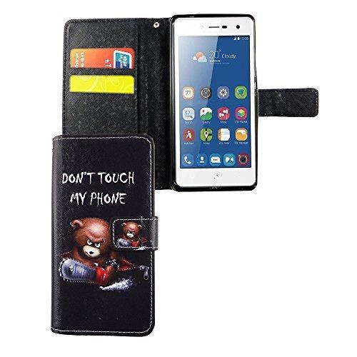 König Design Handyhülle Kompatibel mit ZTE Blade L7 Handytasche Schutzhülle Tasche Flip Hülle mit Kreditkartenfächern - Don't Touch My Phone Bär mit Kettensäge