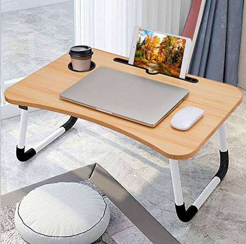 Laptop Desk, Laptop Bed Tray, Foldable Laptop Stand, Small Dormitory Table, Breakfast Serving Bed Tray, Dorm Desk, Notebook Table with Tablet Slots and Cup Holder(Light Brown)
