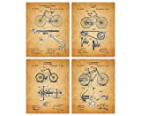 Vintage Bicycle Poster Patent Prints - Set of 4 8x10 Unframed Bicycle Wall Decor for Home, Office, Man Cave, Dorm and Bedroom - Creative Gift Idea for Bicycle Wall Art Enthusiasts