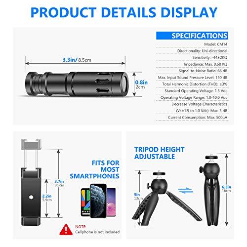 Neewer Smartphone Video Rig Set Filmemacher Mini Stativ mit CM14 Mikrofon Kopfhörer Konverter Adapter Metall Handyklammer Kompatibel mit iPhone11/11 Pro/11 Pro Max/XS/XR Samsung Galaxy usw.