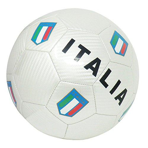 CUCUBA Pallone da Calcio Italia con Stemmi della Federazione Italiana GIUOCO Calcio Taglia 5 – Idea Regalo (Colore: Bianco)