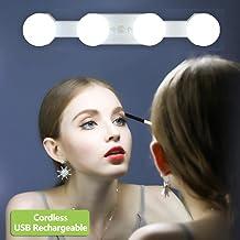 Make-up Lights Draadloze Draagbare, LED Vanity Spiegel Licht Kit Hollywood Stijl USB Oplaadbaar, 4 Dimbare Lampen Multifun...