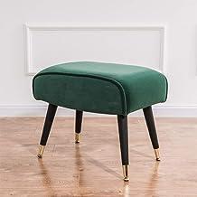 Foot Rest Stool Cube Velvet Vintage Stool Upholstered Dressing Table Footrest Change Shoe Footrest for Living Room Bedroom...