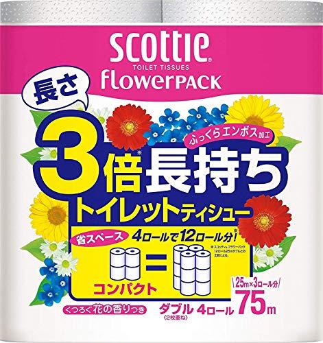 スコッティ フラワーパック 3倍長持ち トイレット4ロール 75mダブル × 6点