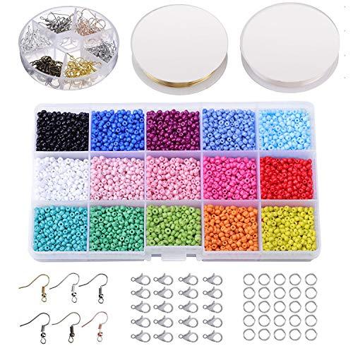 Abalorios para Hacer Pulseras, Conjunto de Perlas de Colores Perlas de Vidrio de 3mm Perlas de Potro Hechas a Mano para Hacer Joyas Collares Pulseras Pendiente Bisutería Regalo DIY 7000-7500 Piezas