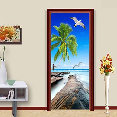 YQLKD Puerta Pegatinas Mural Mar Isla Naturaleza Paisaje Foto Papel Tapiz Murales Etiqueta De La Puerta 3D