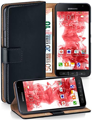 MoEx Premium Book-Case Handytasche passend für Samsung Galaxy Xcover 4   Handyhülle mit Kartenfach und Ständer - 360 Grad Schutz Handy Tasche, Schwarz