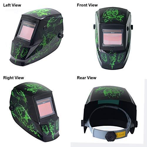 "Antra DP6 Digital True Color Auto Darkening Welding Helmet, Size 3.86X2.50"", Shade 4/5-9/9-13 for TIG, MIG/MAG, MMA, Plasma, External Grinding Button, Solar Lithium Power, 6+1 Extra lens covers"