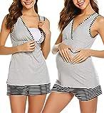 UNibelle Ropa Premamá de Lactancia Algodón Pijama para Mujer Pantalon a Rayas Gris M