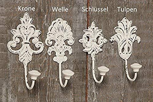 Tamia-Home Wandhaken Kleiderhaken Metallhaken Haken für Bad Küche Garderobe, Haken im Retro Vintage Stil (4er Weiss gemischt)