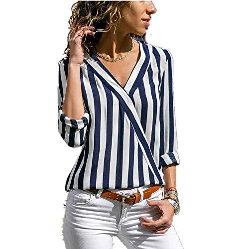 Course Camiseta Raya Mujer Manga Larga Casual Blusa Suelto para Oficina Shirt Verano Playa y Fiesta Top Verano Mujer Camisa Azul