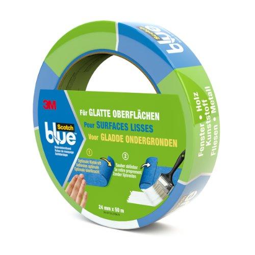 Scotch 20932450 Malerabdeckband (Malerkrepp) optimale Klebkraft auf glatten Oberflächen, 24 mm x 50 m, blau, 24mm x 50m