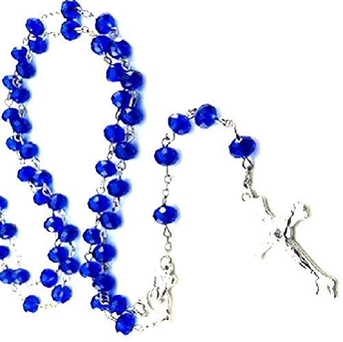 Gorgeous! Blue Crystals Glass Rosary Beads Cross Necklace / Pendant Crucifix Chain Rosario Rosery Chaplet Holy Prayer Pray Anglican Men Women Mini Long Birthday Beaded Mary Jesus Jewellery Jewlery Unique Fashion Saints Charm Icon Medal Relic Statue figure Celtic Inspirational Trendy Modern Contemporary Spiritual Luxury Store Shop Popular Faith Church Altar Tabernacle Monstrance Chasuble Thurible Infant Of Prague Santos Censer Pyx Large Repair Priest Blue Blessed 15 Creed benedict Metal padre pio Brass Carved Amber Brown Box military Wooden Mother Parts center cloisonne unbreakable wedding coral Wall Hanging precious religion bulk spanish Pin connemara Grey Gray Stone Anklet Guy Boy Girl Lady Cool Rare Beautiful Little Bracelet Accessories Supplies Item Product