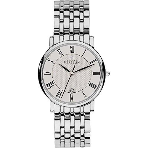 Michel Herbelin Unisex Erwachsene Analog Uhr mit Edelstahl Armband 12543/B01