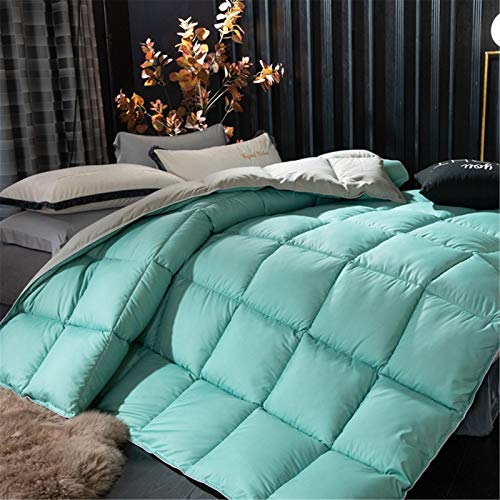 King Size Duvet - 13.5 Tog Luxurious Goose Feather & Down Quilt, 40% Down King Size Bed Duvet, 100% Cotton Shell, Anti-dust Mite & Feather-proof Fabric Anti-allergen (Green,150x200cm1.5kg)