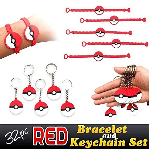 Feidiao Red Novelty Prize Bracelets and Party Keychains Favors for Childrens Kids Birthday Supplies Goody Bags, 32pcs Set