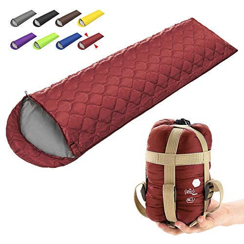 ECOOPRO Camping Sleeping Bag, 3 Season Sleeping Bag for Kids, Teens, Adults Indoor & Outdoor Use - Waterproof, Lightweight, Compact Sleeping Bag Great for Camping, Backpacking Hiking (D-Wine red)