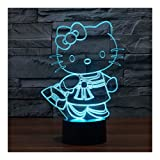 3D LED Illusion Lamp Night Light, Illuminating Kids Lamp 7 Colour Changing Touch Button USB Cable Decoration Desk Lamps, Hello Kitty