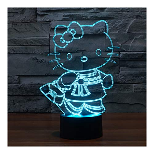 Lámpara de ilusión LED 3D Luz Nocturna, Lámpara iluminadora para niños Botón táctil Que Cambia de 7 Colores Cable USB Decoración Lámparas de Escritorio, Hello Kitty