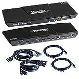 TESmart HDMI KVM Switch Doble Vista 2 En 2 Salidas 4K@60Hz Conmutador Monitor de PC Teclado Caja Selectora de Ratón con Salida de Micrófono de Audio y Hub USB 2.0 con 2 Cables HDMI (Negro)