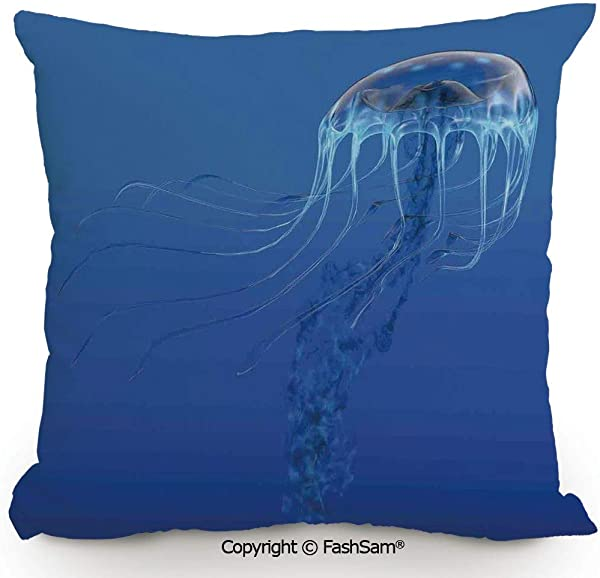 Home Super Soft Throw Pillow Blue Spotted Jelly Fish Aquarium Life Marine Animals Ocean Predator In The Deep Water For Sofa Couch Or Bed 14 Wx14 L