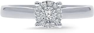 La Joya 1/10 Ct Round White Diamond Sterling Silver Cluster Ring Engagement Wedding Promise Rings for Women