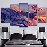 Tableau Xxl 5 Parties Paysage salon cerisier cinq peinture décorative canapé fond mur sans cadre-40X60cmX2 40X80cmX2...