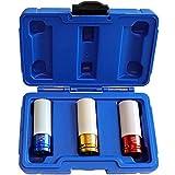 S&R Kraft-Schoneinsätze 1/2' (12,5mm) Chrom-MOLYBDÄN Stecknüsse 3-teilig: 17-19 - 21 mm; Radwechsel Nüsse Schlagschrauber Steckschlüssel Drive Profil Impact Kunststoff-Box