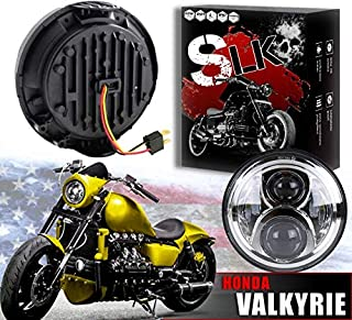 🇺🇸 SLK-Customs Valkyrie LED Chrome Headlight - No Bracket Required - Plug and Play Daymaker - Compatible with Honda Valkyrie