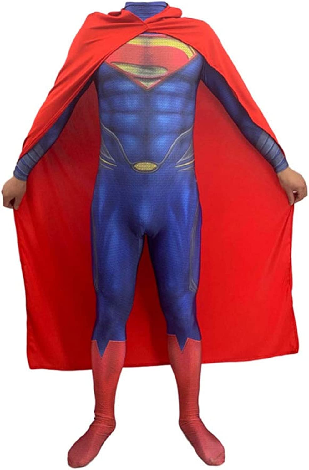ASJUNQ Superman 3D Druck Anime Kostüm Halloween Cosplay Siamesische Strumpfhosen Kostüm Party Thema Party Movie Requisiten,AdultXL