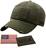 Antourage American Flag Hat for Men and Women | Vintage Baseball Tactical Hat Cap with USA Flag + 2 Patriotic Patches ((01) Olive)