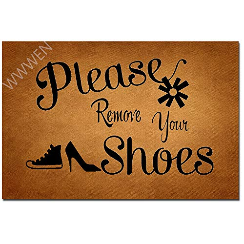 MOMOBO Funny Doormat with Rubber Back -Please Remove Your Shoes Entrance Way Doormat Non Slip...