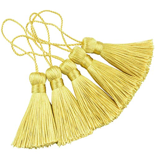 Makhry 20pcs 4.3 Inch Handmade Silky Floss Mini Tiny Craft Tassels with 2-Inch Cord Loop and Small Chinese Knot for Earrings, Souvenir, Bookmarks, DIY Craft Accessory,Tags (#16 Light Gold)