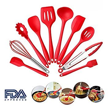 IDEYAL 10 Piece Set Kitchen Cooking Utensils Made With Silicon And Hygienic Coating, Heat Resistant Kitchenware – Perfect For All Types Of Cooking (RED)