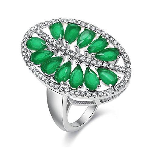 Uloveido Women Silver Color Marquise Cut Lab Creado Anillo de Esmeralda, Anillos de Hoja de Diamantes de imitación Verde Regalos para su mamá Talla 17 PJ100