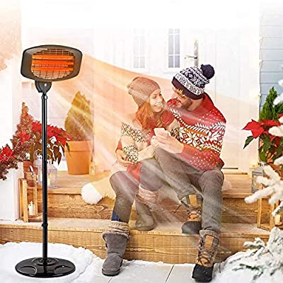 Electric Outdoor Patio Heater - 3 Power Levels Outdoor Heater for 650/1350W/2000W Infrared Carbon Tube Heater Overheat Protection &Tip-Over Shut Off Home Freestanding Space Heater for Courtyard
