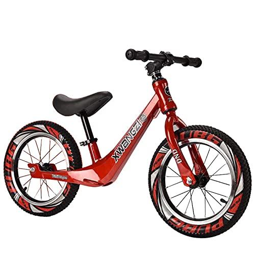 Bueuwe Bicicleta De Equilibrio De 14 Pulgadas para 3 4 5 6 7 Años, Bicicletas Sin Pedales para Niños Pequeños con Manillar/Asiento Ajustable Y Marco De Aleación De Magnesio,D Red