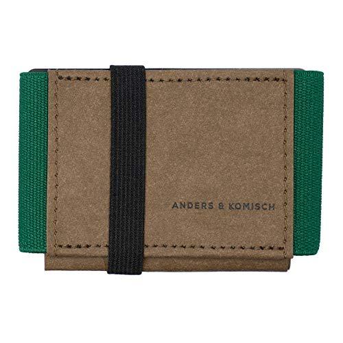A&K Mini Portemonnaie Braun/Grün – Slim Wallet mit Münzfach, Kreditkartenetui Herren, Kleiner Geldbeutel Damen, Nachhaltiges Portmonee Made in Berlin