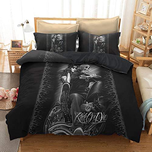 Bedclothes-Blanket Conjunto de Tapa de edredón de la Ropa de Cama del cráneo, con la Belleza Floral de Doble Capa, la Cubierta del edredón Impreso del cráneo, con Cremallera, 200x200 cm-4_228 * 228cm