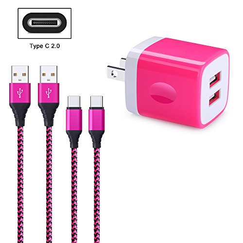 FiveBox 2.1A Dual Port USB Wall Charger Box Cube Charging Base Block Plug with 2-Pack 6ft USB Type C Charger Cable Cord Compatible Samsung Galaxy S9 S8 Plus, Google Pixel 2, LG G5 G6, Nexus 6P 5X