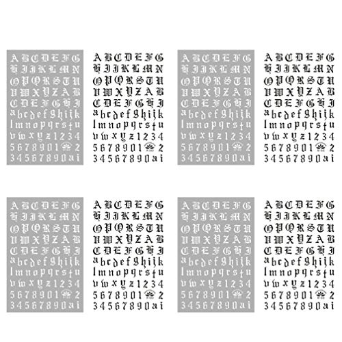 PIXNOR 4 Ensembles Nail Art Autocollants Anglais Lettre Ongles Décalcomanies Autocollant Pointe Décalcomanies Noir Adhésif Conseils Nail Patch pour Nail Art Design