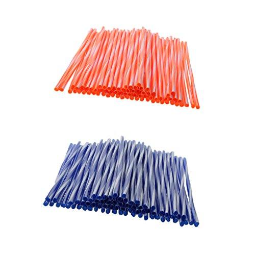 MagiDeal 150 x Rayon Couvre Spokes Wrap Skins Cover de Roue Décoration Protection Roue Jante Accessoire pour Motocross Motos VTT Dirtbike - Bleu Et Orange