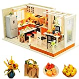 SPILAY Dollhouse Miniature with Furniture,DIY Dollhouse Kit Mini Modern Kitchen Home Model with Dust Cover & Music Box ,1:24 Scale 3D Puzzle Creative Room Toys Best Birthday Gift for Lovers Friend