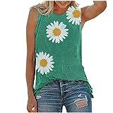 Chaleco de verano con estampado de girasol sin mangas, cuello en O, con estampado de margaritas, camisetas sin mangas, blusa gráfica, ajuste holgado