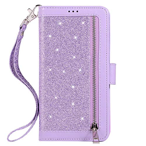 Herbests Compatible with Samsung Galaxy S10e Wallet Case Luxury Bling Glitter Multi-Functional Zipper Leather Flip Cover 9 Credit Card Holders Magnetic Purse Cover with Wrist Strap,Purple
