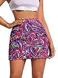 Milumia Women Causal Tie Dye Elastic High Waist Lettuce Trim Mesh Bodycon Mini Skirts Pink Small