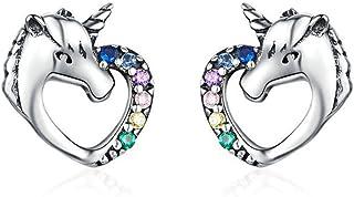 CNNIK Orecchini a forma di cuore unicorno in argento 925 per le donna ragazze, Orecchini a perno piercing anallergici senz...